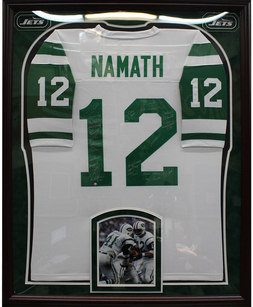big sale 36cf7 dbf92 1969 New York Jets Elite Framed Team Signed White Joe Namath Mitchell &  Ness Jersey (24 Signatures)