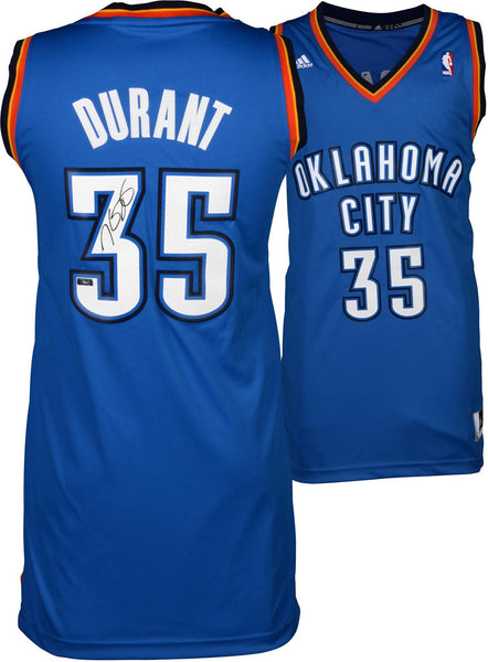newest 6be3b 35a94 Kevin Durant Oklahoma City Thunder Autographed Blue Replica Jersey