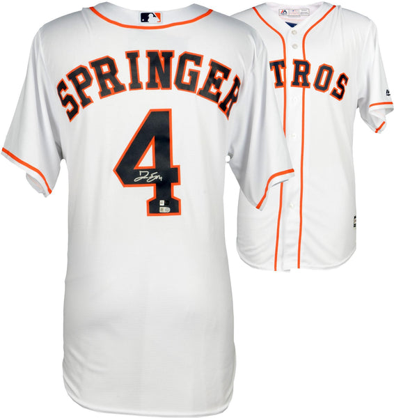 save off 4725b 6d716 George Springer Houston Astros Autographed White Replica Jersey