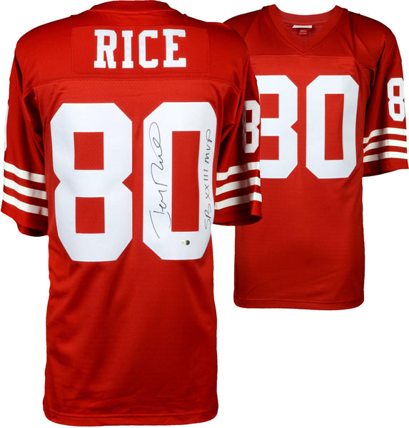buy popular f5c11 45faf Jerry Rice San Francisco 49ers Autographed Mitchell and Ness Red Replica  Jersey with