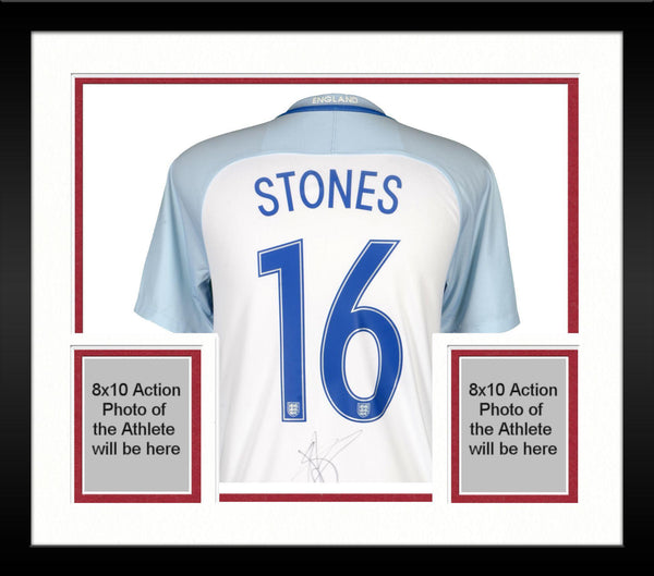 new concept 918c8 41506 Framed John Stones England National Team Autographed 2016-2017 Home Jersey  - ICONS