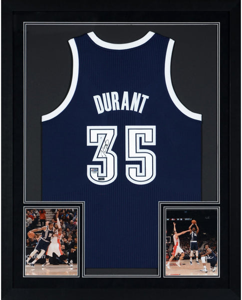 best cheap b02d3 30000 Kevin Durant Oklahoma City Thunder Deluxe Framed Autographed Replica  Alternate Blue Jersey - Panini Authentic