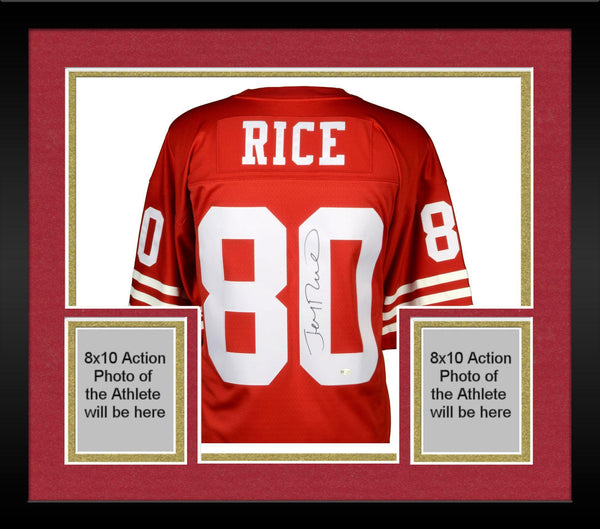 brand new 0414e 6d471 Framed Jerry Rice San Francisco 49ers Autographed Mitchell and Ness Red  Replica Jersey