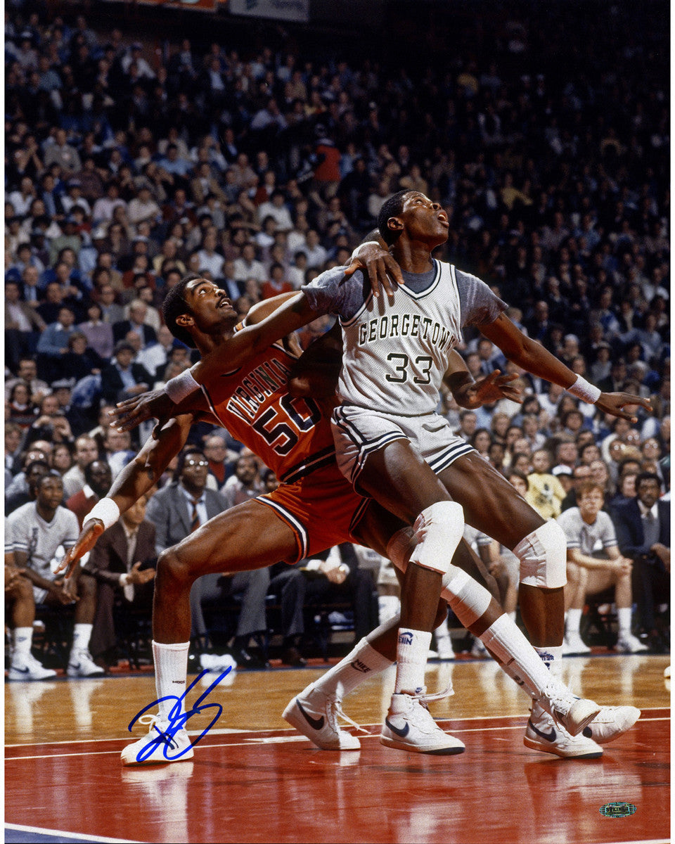 Ralph Sampson Signed vs Patrick Ewing NCAA 16x20 – Steiner