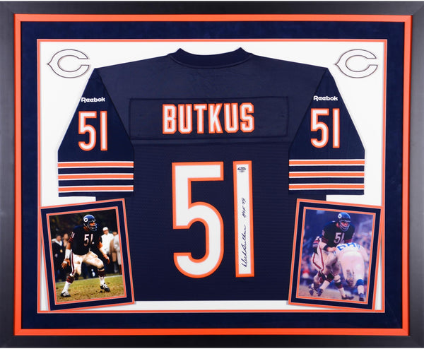 promo code 0c9dd b0f71 Dick Butkus Chicago Bears Autographed Deluxe Framed Reebok EQT Blue Jersey  with