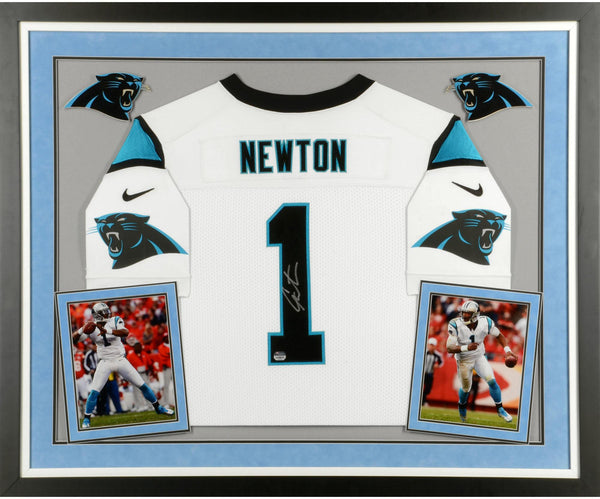 half off 099d7 de664 Cam Newton Carolina Panthers Deluxe Framed Autographed Nike Elite White  Jersey