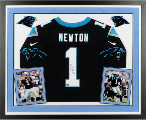 new style fb4f0 2e99b Cam Newton Carolina Panthers Deluxe Framed Autographed Nike Elite Black  Jersey