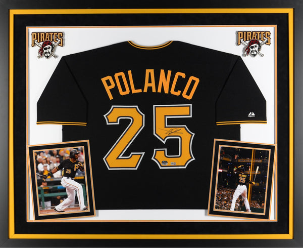 online retailer 0c518 95a8a Gregory Polanco Pittsburgh Pirates Deluxe Framed Autographed Replica Black  Jersey