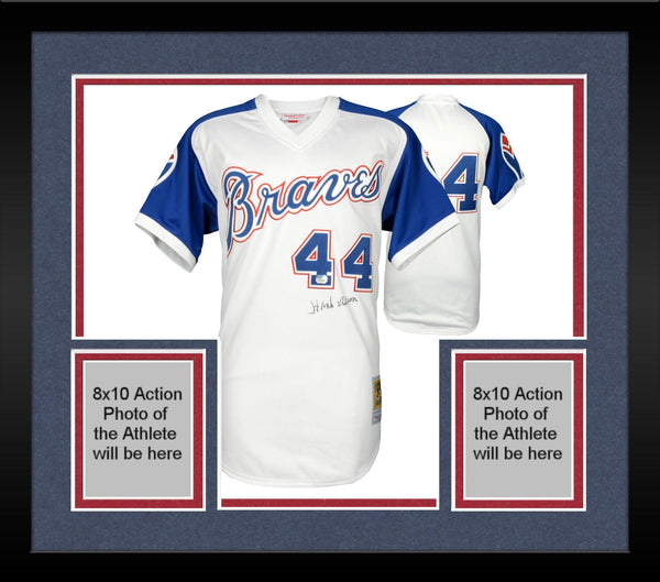 hot sale online 77730 cf7c8 Framed Hank Aaron Atlanta Braves Autographed Mitchell & Ness Authentic  Jersey