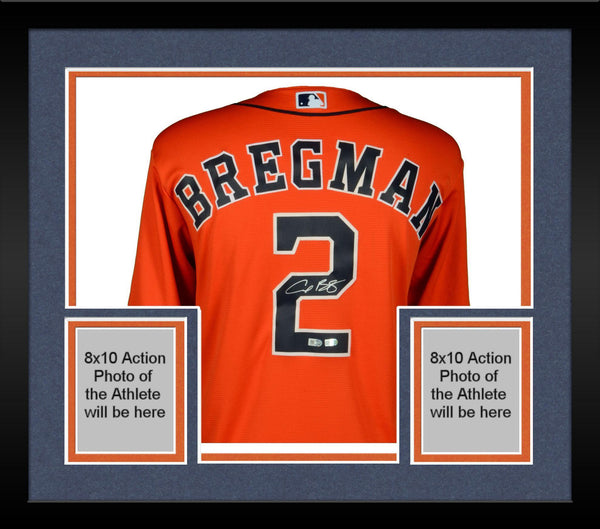 buy popular b4a04 47e15 Framed Alex Bregman Houston Astros Autographed Majestic Orange Replica  Jersey