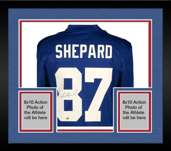 new arrivals 102d1 0ea65 Framed Sterling Shepard New York Giants Autographed Blue Nike Game Jersey