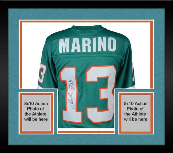 info for 49282 ee705 Framed Dan Marino Miami Dolphins Autographed Mitchell & Ness Teal Replica  Jersey