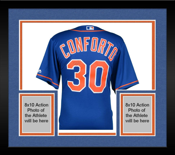timeless design 918bc 610f3 Framed Michael Conforto New York Mets Autographed Majestic Blue Replica  Jersey