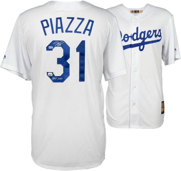 timeless design 682a4 dc13c Mike Piazza Los Angeles Dodgers Autographed White Replica Jersey with