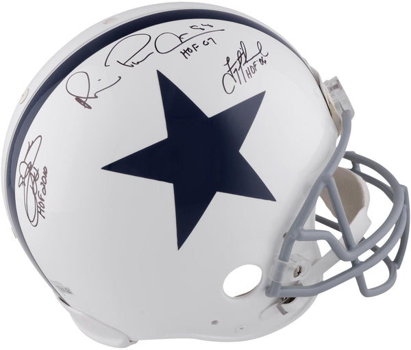 new concept ed4ba 230dd Troy Aikman Michael Irvin and Emmitt Smith Dallas Cowboys Autographed  Riddell Throwback Pro-Line Helmet with