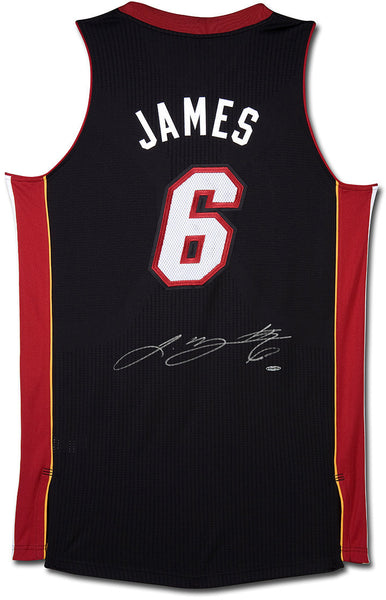 info for 9f758 7b444 Lebron James Autographed Miami Heat Authentic Reebok Black/Away Jersey