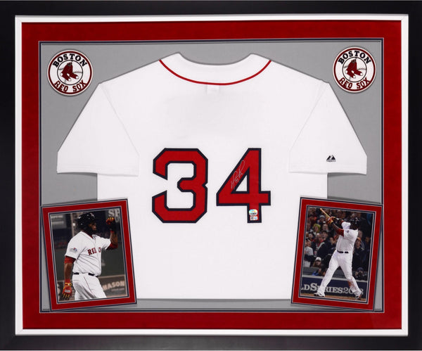 the best attitude 75ac1 21f02 David Ortiz Boston Red Sox Autographed Deluxe Framed Majestic Home Jersey