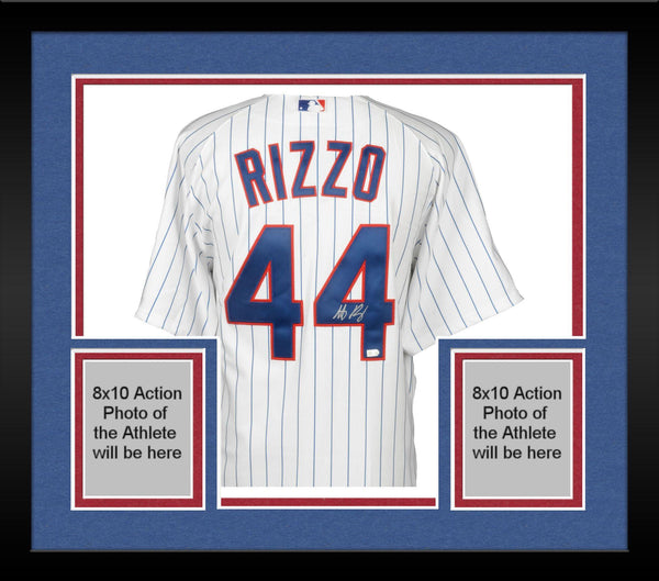 check out 7c5fd dc1fe Framed Anthony Rizzo Chicago Cubs Autographed White Authentic Jersey