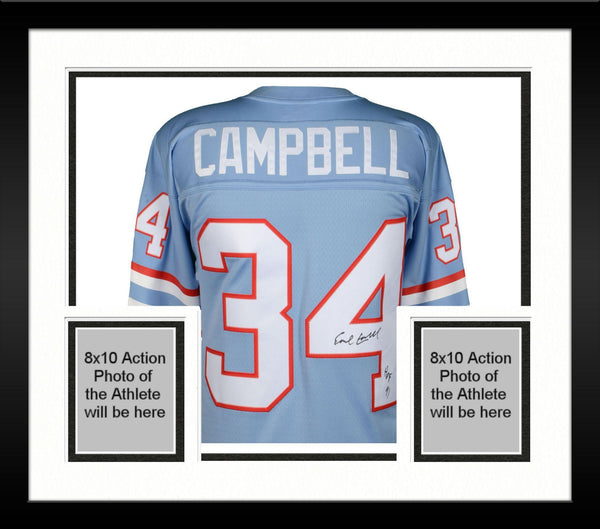 innovative design 4a29b c62e5 Framed Earl Campbell Houston Oilers Autographed Mitchell & Ness Light Blue  Replica Jersey with