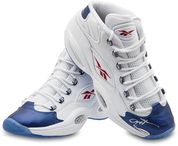 a4a8a714745f Allen Iverson Autographed Reebok  Question  Mid-Shoes with Blue Toe (L –  Steiner Sports