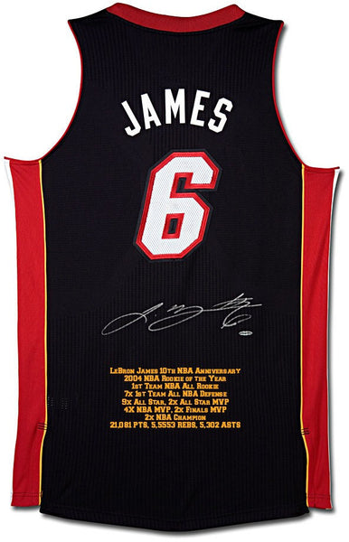 big sale ad535 c4c11 LeBron James Autographed Miami Heat Authentic Addidas Black/Away Jersey  with 10th Anniversary Stats Embroidery - Limited to 50