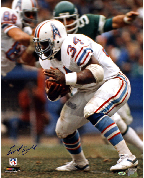 more photos f335d 2a412 Earl Campbell Signed Houston Oilers Running White Jersey 16x20 Photo