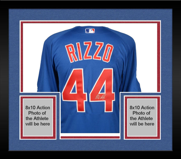competitive price 5b113 662ca Framed Anthony Rizzo Chicago Cubs Autographed Blue Authentic Jersey