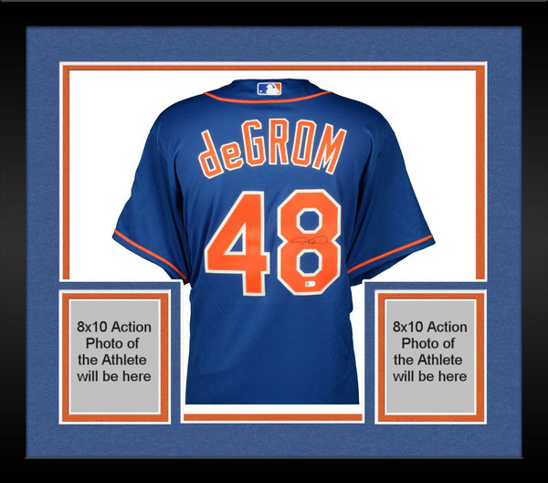 big sale 86989 9a454 Framed Jacob deGrom New York Mets Autographed Blue Authentic Jersey