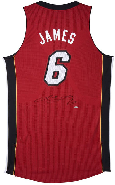 ac639e54c Lebron James Autographed Miami Heat Authentic Reebok Red Alternate ...