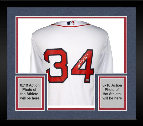 sale retailer 8c8f3 7bc3d Framed David Ortiz Boston Red Sox Autographed Home Majestic Replica Jersey
