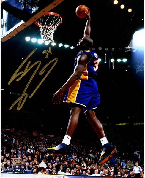 c6f99416876 Shaquille O'Neal Signed L.A. Lakers Purple Jersey Dunk 8x10 Photo ( Si – Steiner  Sports