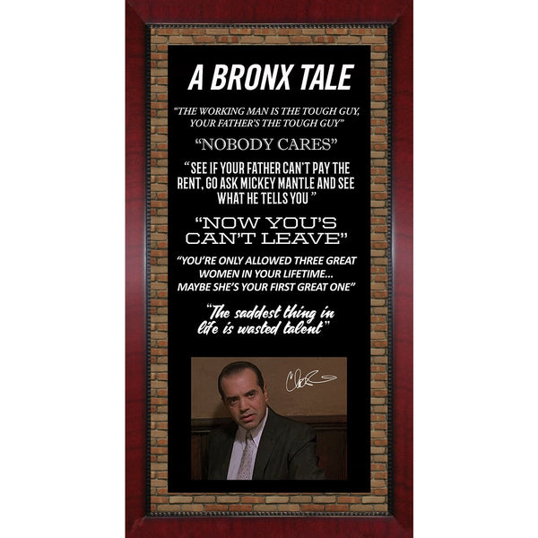 Bronx Tale Movie Quotes Framed 16x32 Collage with Signed Chazz Palminteri  8x10 Photo