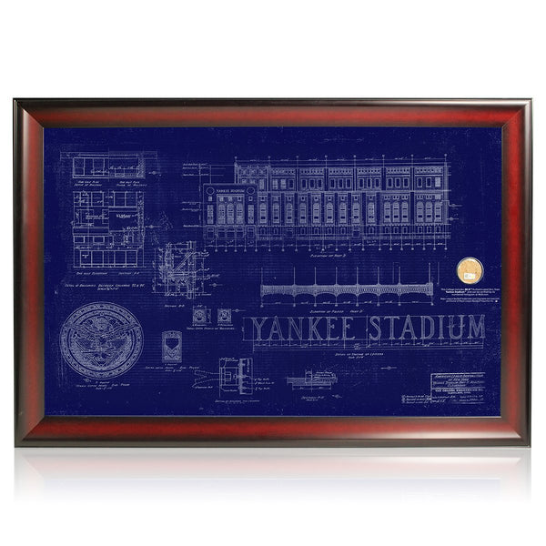 Original yankee stadium framed replica blueprint with stadium dirt chat now malvernweather