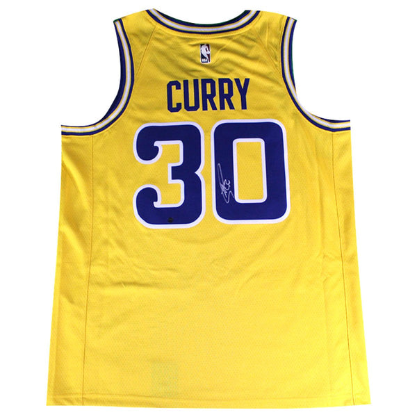 official photos 157d9 6de38 Stephen Curry Signed Golden State Warriors Nike Dri-FIT Men's Swingman  Hardwood Classic Jersey - Gold (On Court Style with Rakuten logo)