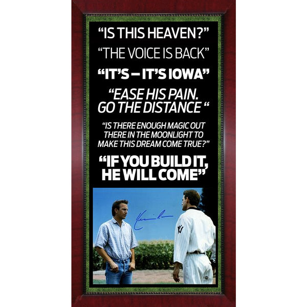 Field of Dreams Movie Quotes Framed 16x32 Collage with Signed Kevin Costner  11x14 Photo