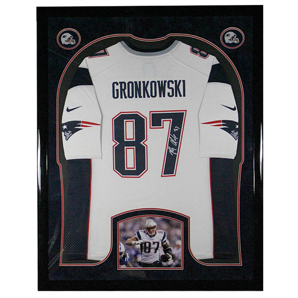 new styles 8fd84 93440 Rob Gronkowski Signed New England Patriots Framed Collage White Replica  Jersey