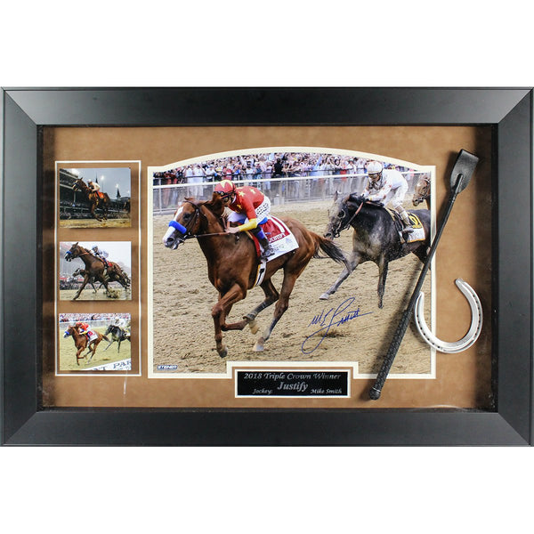 3b0026c5c73 Mike Smith 2018 Triple Crown Winner 25x37 Framed Collage With Whip ...
