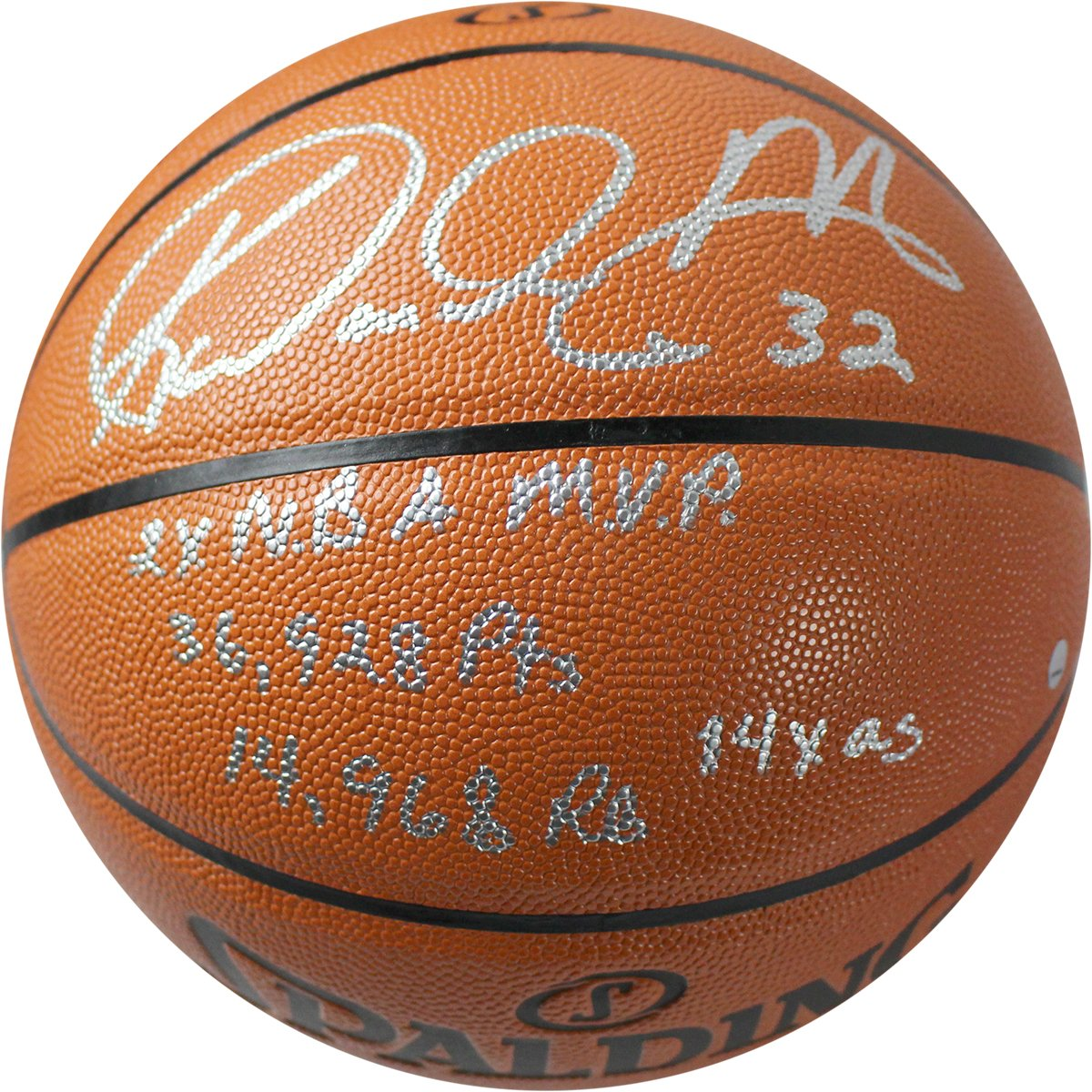 Karl Malone Signed Spalding NBA Indoor Outdoor Basketball w  Mailman 58aba18d1