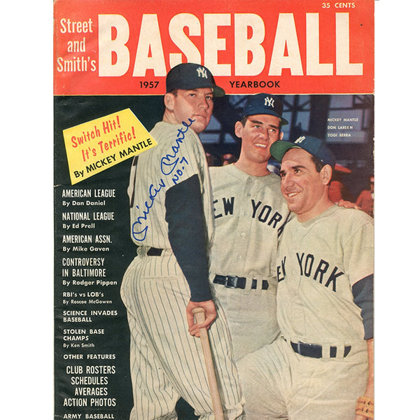 Mickey Mantle Signed 1957 Street And Smiths Baseball Yearbook Magazine Steiner Sports