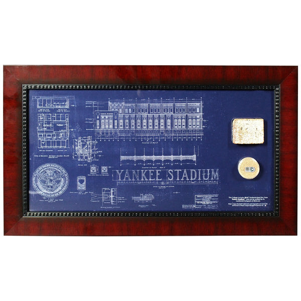Old yankee stadium 10x20 framed replica blueprint with dirt chat now malvernweather Image collections