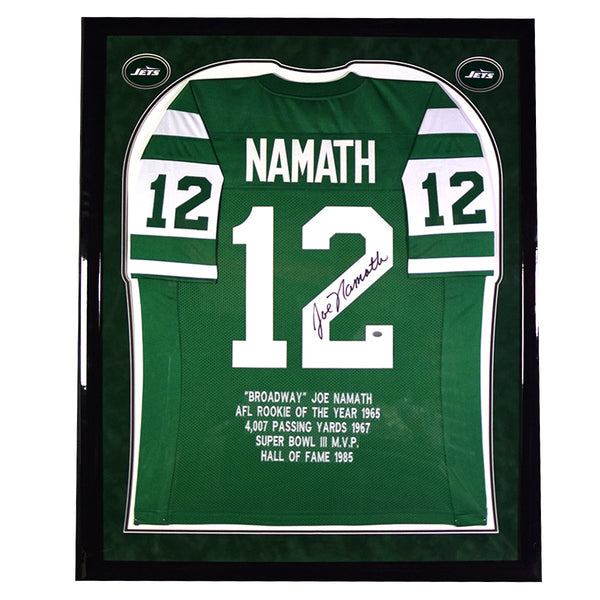 49d1735e834 Joe Namath Elite Framed and Signed Green New York Jets Jersey w ...