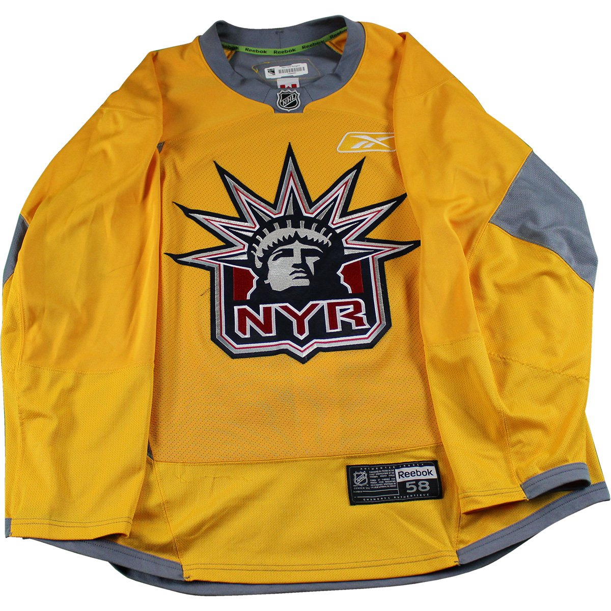 b42def593 New York Rangers Yellow Used Liberty Logo Practice Jersey (Size 58) ...