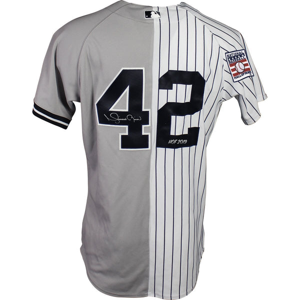 6fc8a13d7 Mariano Rivera New York Yankees Signed New York Yankees  42 Authentic Spilt  Jersey with MLB HOF Logo Patch and Inscribed