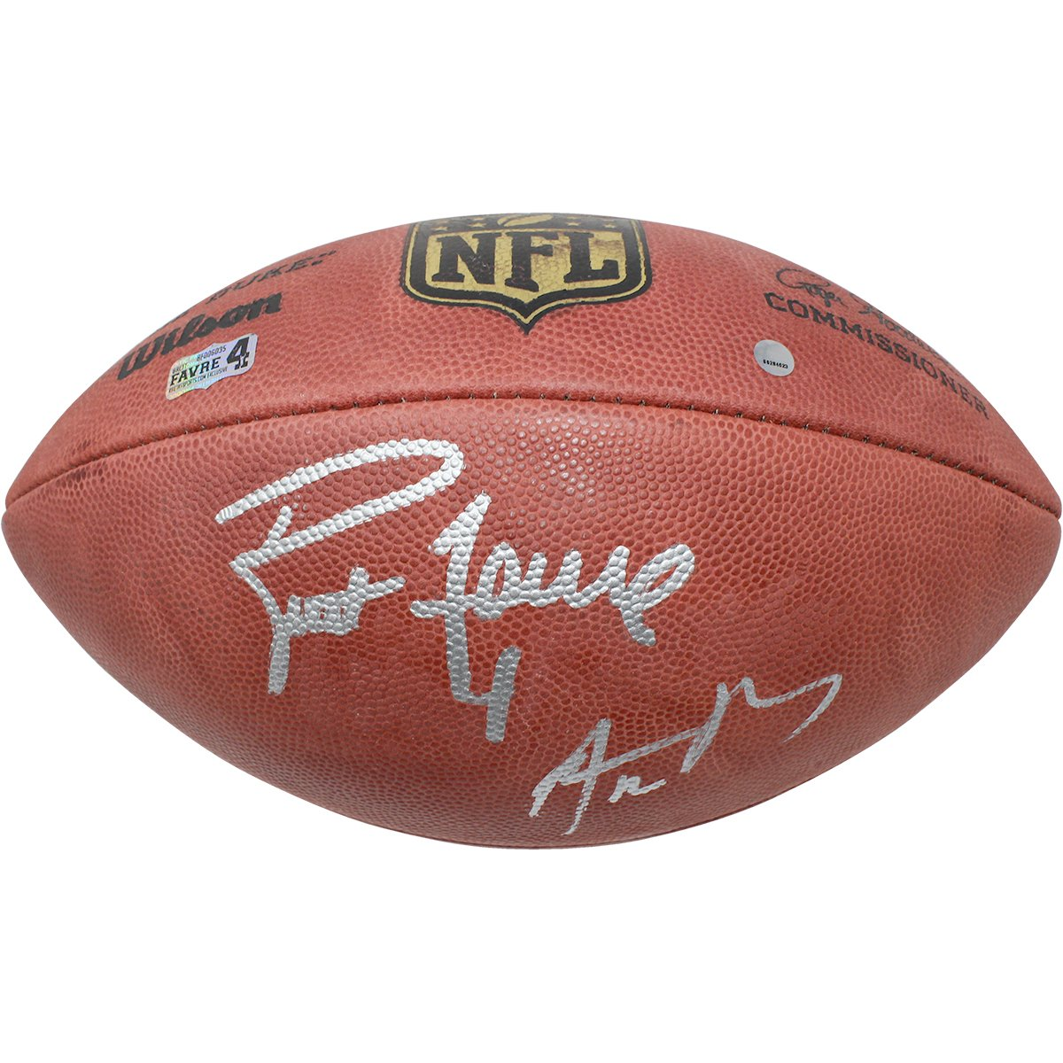 Image of Aaron Rodgers/Brett Favre Dual Signed Wilson Official NFL Football (Favre Auth/SSM)
