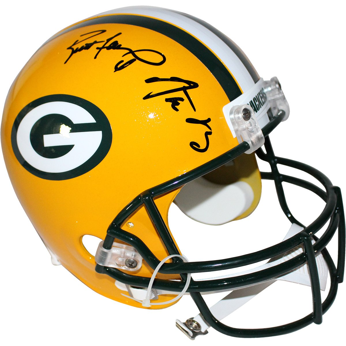 Image of Aaron Rodgers/Brett Favre Dual Signed Packers Authentic Proline Helmet