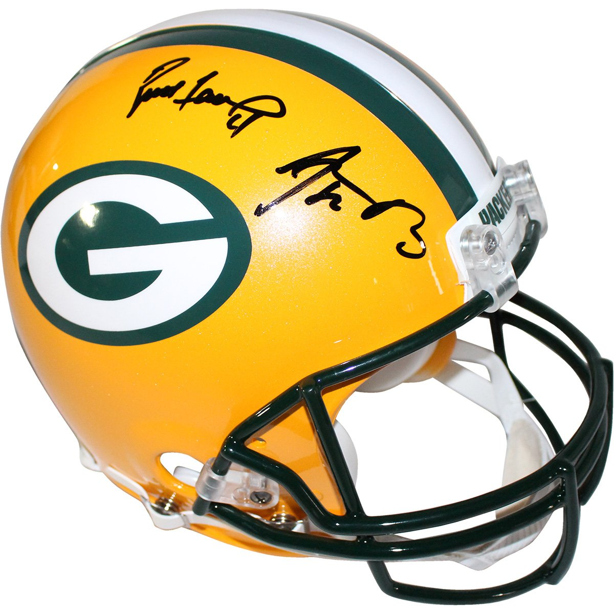 Image of Aaron Rodgers/Brett Favre Dual Signed Packers Full Size Replica Helmet