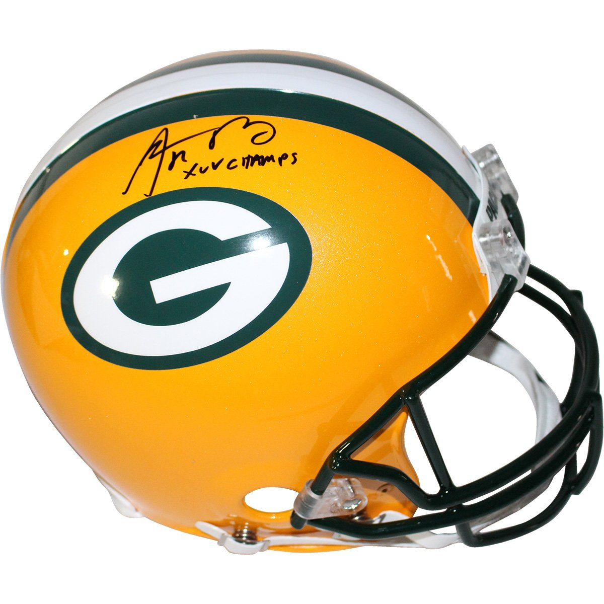 Image of Aaron Rodgers Green Bay Packers Full Size Authentic Helmet w/ XLV Champ Insc