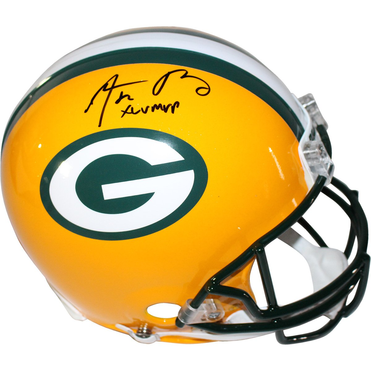 Image of Aaron Rodgers Green Bay Packers Full Size Authentic Helmet w/ XLV MVP Insc