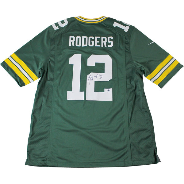 check out 596dc 75cb0 Aaron Rodgers Green Bay Packers Signed Green Replica Jersey