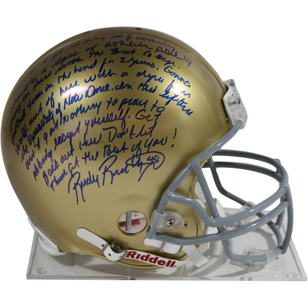 Rudy Ruettiger Notre Dame Fighting Irish Signed Authentic Full Size Helmet  Inscribed With